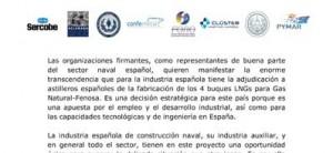 La industria naval defiende el interés estratégico de construir en España los 4 buques de Gas Natural-Fenosa