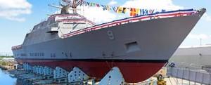 Botadura de costado del USS Little Rock