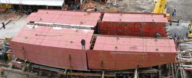 Instantánea del proceso de construcción del buque