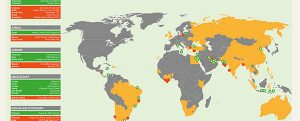 Mapa mundial de las unidades FSRU de 2017