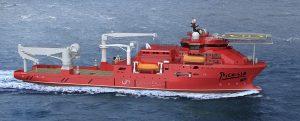 Buque de apoyo submarino Picasso en pruebas de mar