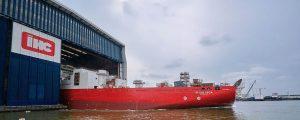 Botadura del buque de tendido de tuberías Seven Vega
