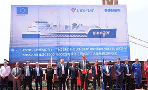 Puesta de quilla del primer buque LNG para Elenger