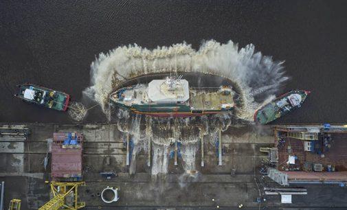 Vídeo de la botadura de costado del buque hidrográfico Geo Ranger