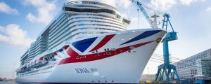 El crucero a GNL Iona de P&O Cruises abandona Papenburg para las pruebas de mar