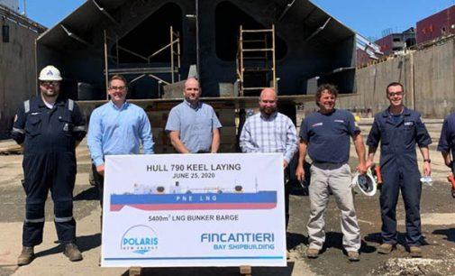 Puesta de quilla de la barcaza de suministro de GNL para Polaris New