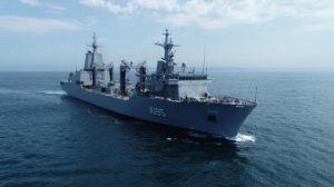 """El buque logístico """"Supply"""" de la Armada Australiana concluye sus pruebas de mar en las proximidades de Ferrol"""