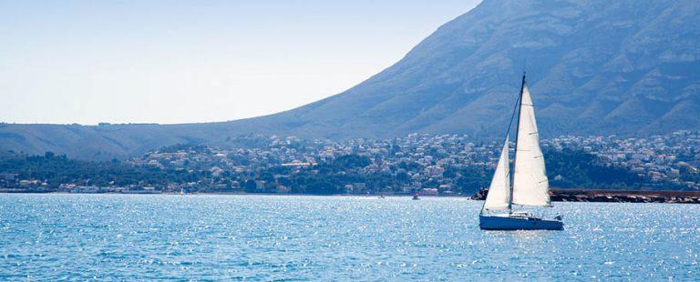 sailboat sailing in Mediterranean sea OF Denia