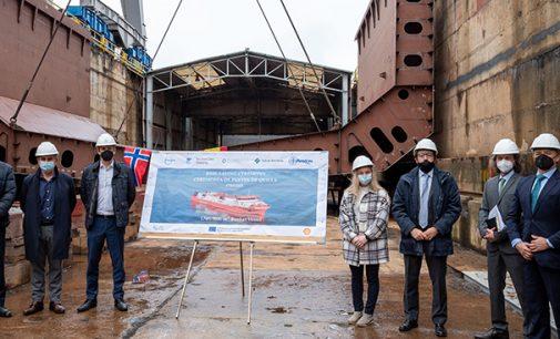 Puesta de quilla del primer barco de suministro de GNL construido en España
