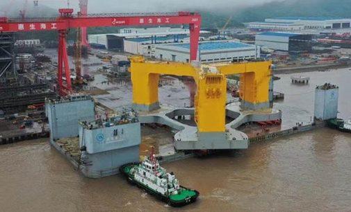 Imágenes del embarque de la cimentación flotante del parque eólico marino Yangxi Shapa II