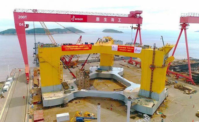 Embarque de la primera plataforma flotante del parque eólico Yangxi Shapa II