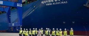 Primera escala en Algeciras del portacontenedores más grande del mundo, el HMM Algeciras